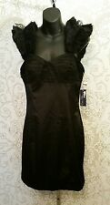 Eric Daman for Charlotte Russe Black Satiny Prom Cocktail Mini Dress Sz 8 #2047