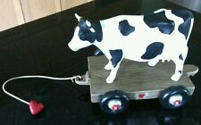 China Cow Figurine Farm Cart Black White Collectible Animal Present Gift Ceramic