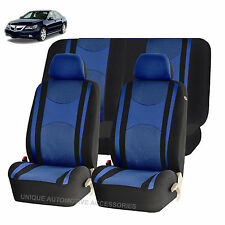 BLUE & BK HONEYCOMB AIRBAG READY SPLIT BENCH SEAT COVERS 6PC SET FOR CARS 1144
