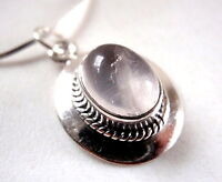 Rose Quartz Silver Bordered 925 Sterling Silver Pendant Rope Style Accents