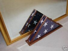 QUAD VIEW FLAG DISPLAY CASE BLACK WALNUT 5X9 VETERAN MEMORIAL