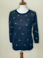J.Crew Small Navy Blue Embroidered Whales 3/4 Sleeve 100% Linen Sweater