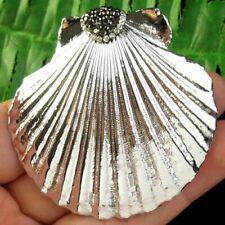 Carved Wrap Rhinestone Silver Hematite Shell Pendant Bead S11343