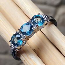 Natural 1ct London Blue Topaz 925 Solid Sterling Silver Engagement Ring sz 6