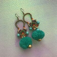 Beaded Pom Pom Earrings, Dangle Earrings, Hook Earring, Fashion Jewelry, Bells