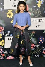 Erdem x H&M Black Floral Jacquard-Patterned Full Midi Skirt Size UK6 EUR32