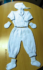Baby Blue 2 piece Pram Suit hand knitted with james brett 0 - 3 months