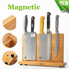Magnetic Knife & Cutlery Holder Kitchen Bar Bamboo Storage Rack Block Orgainser