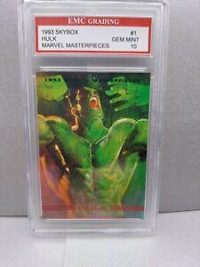 INCREDIBLE HULK   1993 Marvel Masterpieces Card EMC GRADED 10 VINTAGE SKYBOX
