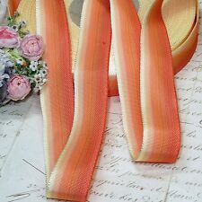 "1y Vtg 7/8"" French Orange Ombre Stripe Grosgrain Jacquard Rococo Ribbon Trim"
