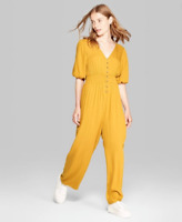 Wild Fable Women's Balloon Short Sleeve V Neck Button Front Jumpsuit Mustard NWT