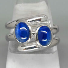 New 925 Silver Ring 100%Natural Top Royal Blue Sapphire Ova Cabochon Size 7