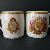 Pair George V & Queen Mary Silver Jubilee Mugs Lewes Childrens Tea Committee :A4