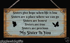 HANDMADE WOODEN SIGN PLAQUE SISTERS GIVE HOPE WHEN LIFE IS LOW GIFT PRESENT