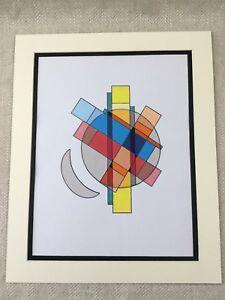 ORIGINAL MODERN ABSTRACT PAINTING Red Blue Yellow Geometric Art