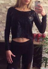 ⭐️ Womens BNWT SUPRE Brand Size S Black Metalic Crop Jumper Rrp $40 ⭐️