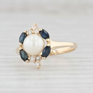 Cultured Pearl Blue Sapphire White Diamond Halo Ring 14k Yellow Gold Size 6.5