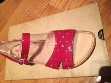NIB BORN RENZI Red Leather Buckle Slingback Comfort Footbed Sandals Size 7M
