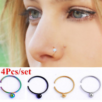 4 Pcs Septum Clip-On Fake Nose Ring Clicker Non-Piercing Hanger Hoop Jewelry