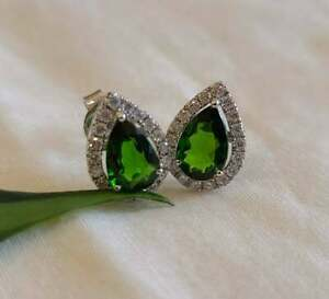 4Ct Pear Cut Green Peridot & Diamond Halo Stud Earrings 14K White Gold Finish