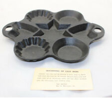 """Art Smithy Antique Cast Iron Mold Star and Hearts Circle Cupcake Flower 9"""""""
