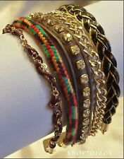 MULTI COLOR LAYER LEATHER BOHEMIAN BRAIDED CRYSTAL ROPE LINK TOGGLE BRACELET