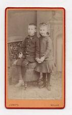 PHOTO CDV Carte de visite Deux Enfants Main J. OMETZ BELLAC Vers 1880 Chaise