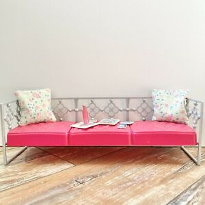 Mattel Barbie Pink Silver Daybed Couch Handmade Pillows Accessories Included.