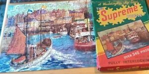 Waddington SUPREME Vintage JIGSAW PUZZLE with Waterfront Scene OLD Complete 718
