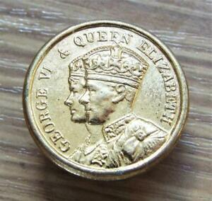 King George VI & Queen Elizabeth Vintage 1937 Coronation Lapel Badge