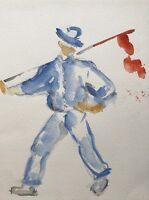 Aquarell Expressiv Mann mit roter Fahne 23,5 x 31,5 cm