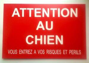 plaque panneau ATTENTION AU CHIEN VOUS ENTREZ A VOS RISQUES ET PERILS