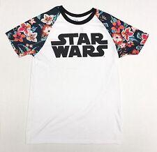 Star Wars - Flowers Polyester Sleeves - Men's Medium White T-Shirt Cotton Blend