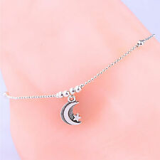 Fashion Moon Star Sterling Silver Anklet Foot Chain Sole Ankle Barefoot Bracelet