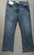 Next Grey Crop Flare High Rise Jeans Size 12  25 Inside Leg NEW