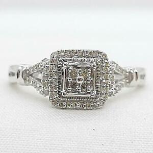 Genuine .34ctw H-SI Diamond 925 Sterling Silver Ring Size 7