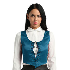 Women Bodice Pirate Fair Wench Corset Vest Medieval Halloween Reversible Costume