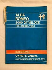 1974 Alfa Romeo 2000 Gt Veloce Owner's Manual