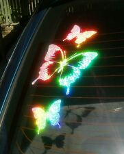 SMALL Set of 3  BUTTERFLY STICKERS  CAR DECAL *RAINBOW HOLOGRAPHIC*  Stickers