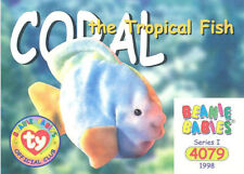 TY Beanie Babies BBOC Card - Series 1 Common - CORAL the Tropical Fish - NM/Mint
