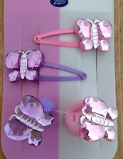 A Pack Of 2 Pink And Purple Butterfly Hair Ponio Bobbles And Clips
