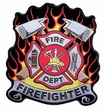Firefighter Flames Maltese Cross Embroidered Biker Patch Large FREE SHIP