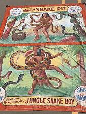 Original Fred Johnson Vintage Sideshow Carnival Circus Banner Rare Freak Show