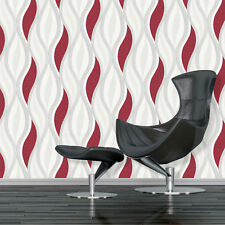 Red Glitter Waves Silver White Quality Textured Vinyl Feature Wallpaper