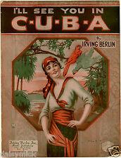 Voy a verte en Cuba Irving Berlin 1920 6x5 pulgadas cartel reimpresión