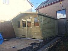 12X10' 19mm Wooden Tanalised Ultimate Garden Summerhouse Taperd Shed Double Door