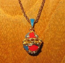 Russian FABERGE inspired BLUE & RED ENAMEL Swarovsky Crystal hollow EGG pendant