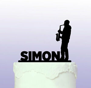 Personalised Sax Player Acrylic Cake Topper - Jazz