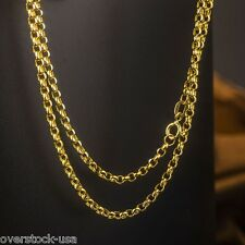 ONSALE 20INCH Solid 18K Yellow Gold Necklace ROLO Link Chain Necklace Au750