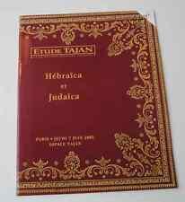 CATALOGUE VENTE 2001 TAJAN JUDAÏCA HEBRAÏCA Livres anciens Bible Judaïsme A